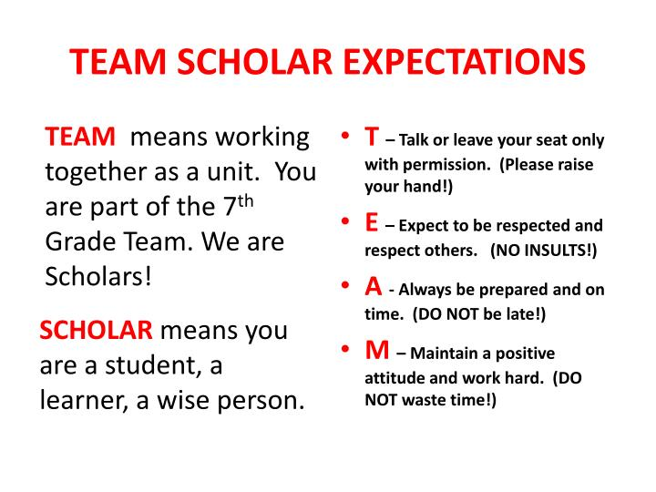TEAM SCHOLAR EXPECTATIONS