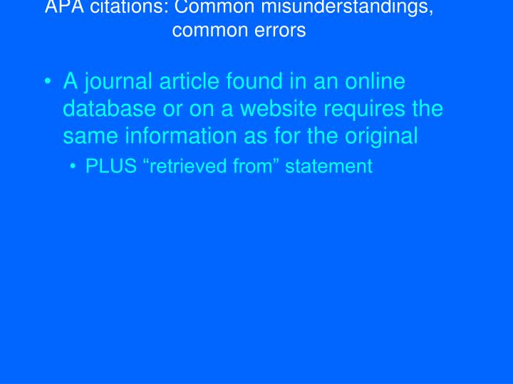 APA citations: Common misunderstandings, common errors