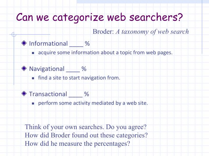 Can we categorize web searchers?