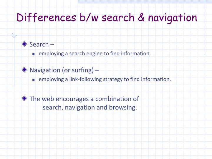 Differences b/w search & navigation