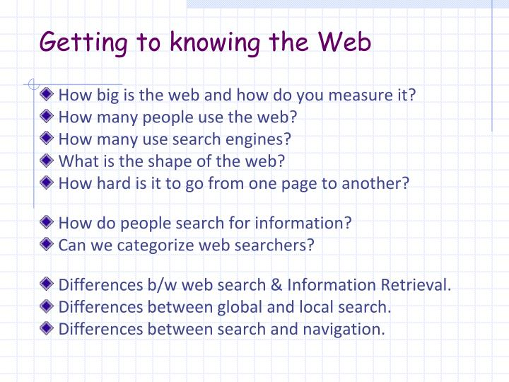 Getting to knowing the Web