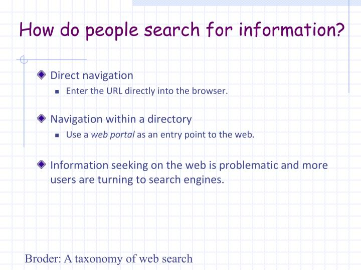 How do people search for information?