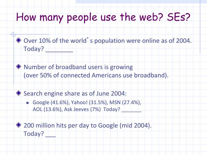 How many people use the web? SEs?