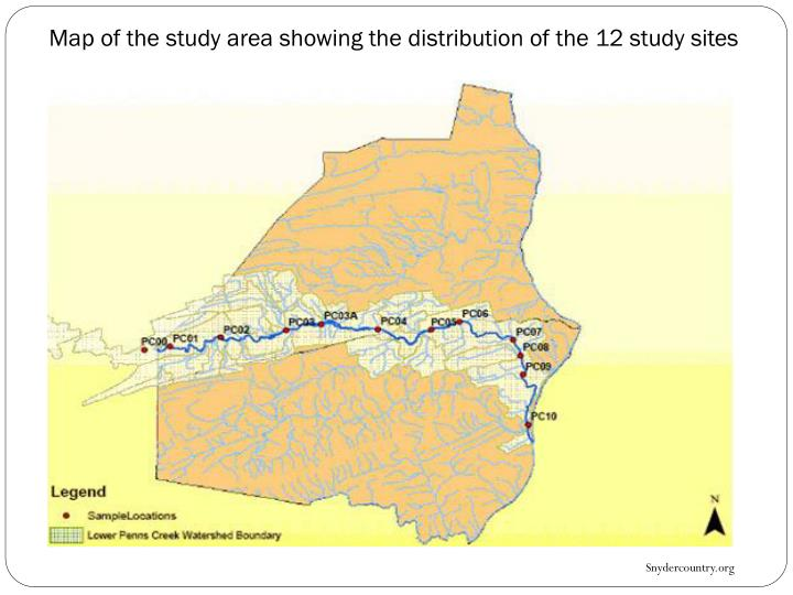 Map of the study area showing the distribution of the 12 study sites