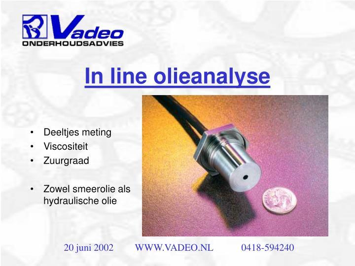 In line olieanalyse