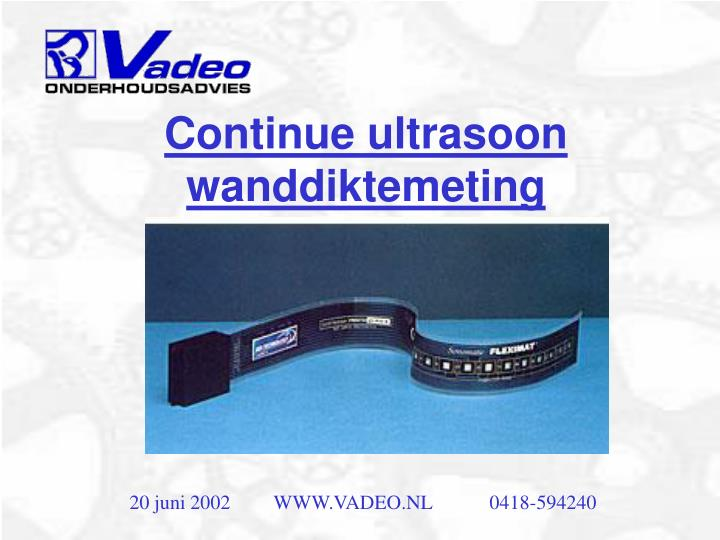 Continue ultrasoon wanddiktemeting