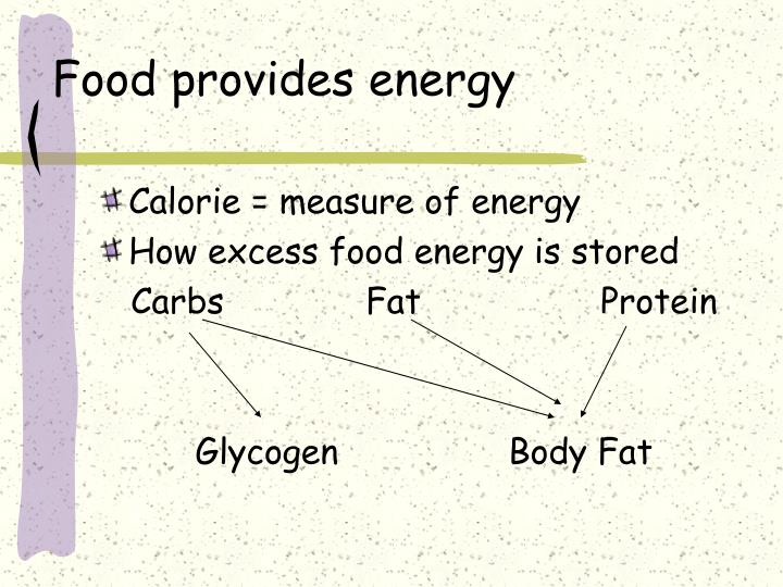 Food provides energy