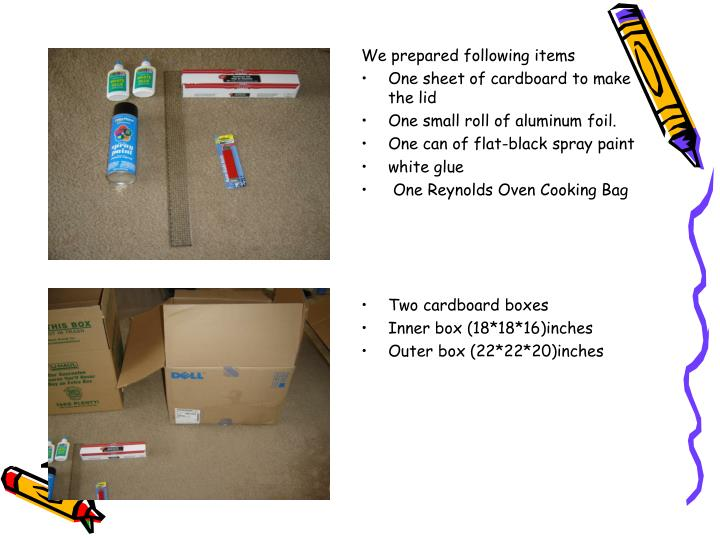 We prepared following items