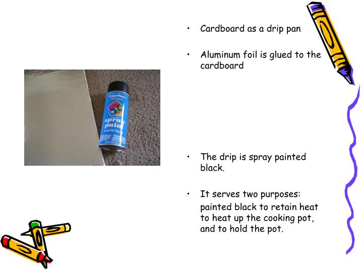 Cardboard as a drip pan