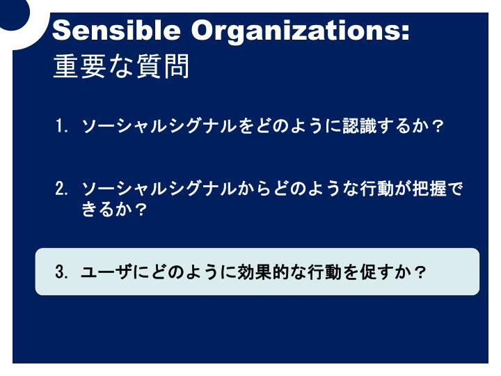 Sensible Organizations: