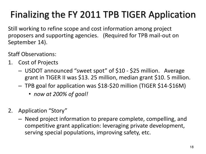 Finalizing the FY 2011 TPB TIGER Application
