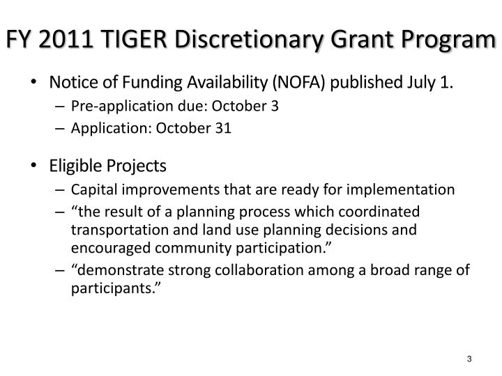 Fy 2011 tiger discretionary grant program