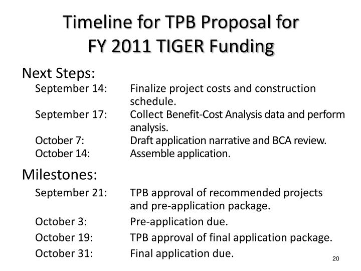Timeline for TPB Proposal for