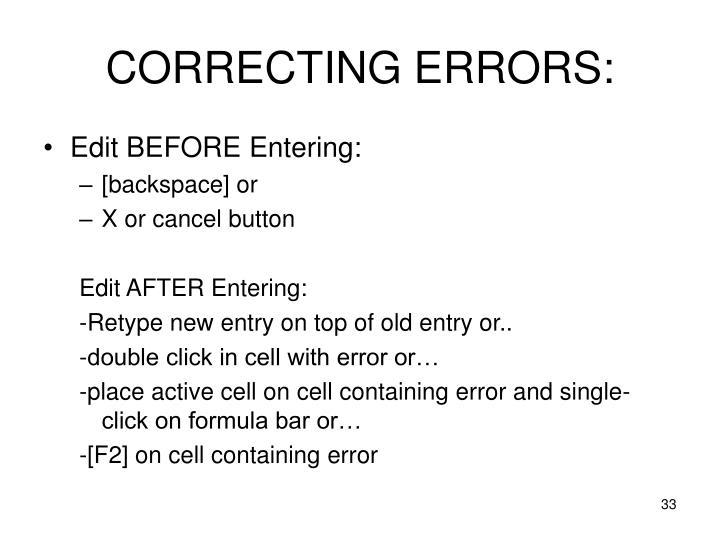 CORRECTING ERRORS: