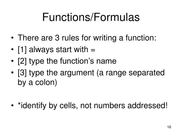 Functions/Formulas