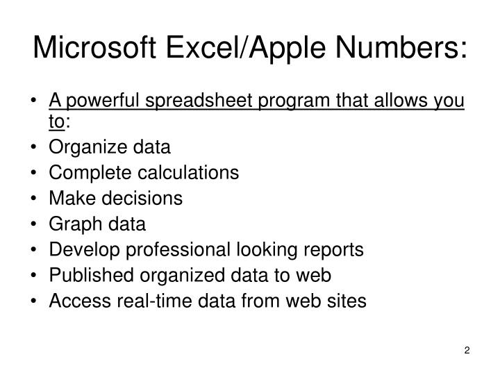 Microsoft excel apple numbers