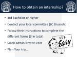 how to obtain an internship