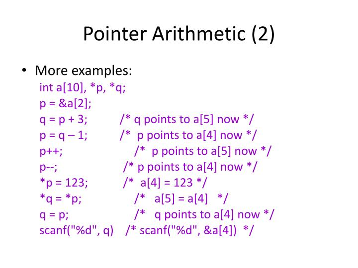 Pointer Arithmetic (2)