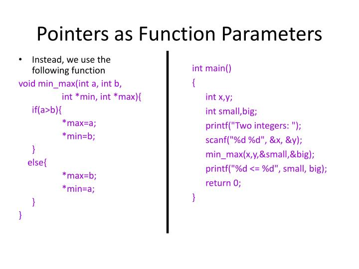 Pointers as Function Parameters