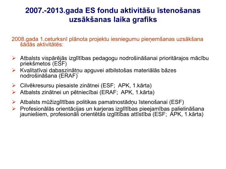 2008.gada 1.ceturksnī plānota projektu iesniegumu pieņemšanas uzsākšana šādās aktivitātēs: