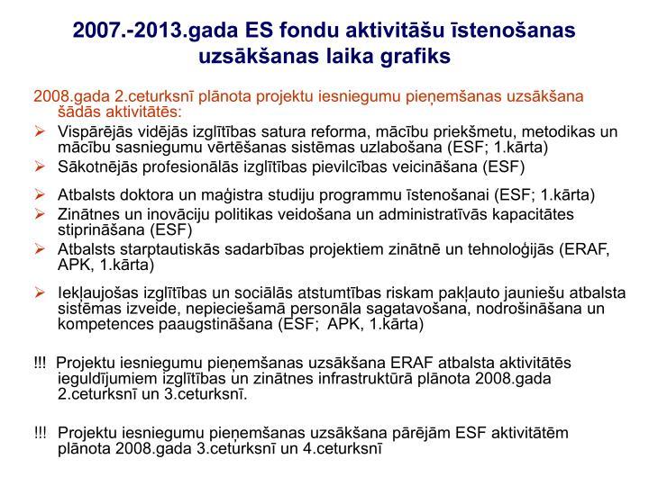 2008.gada 2.ceturksnī plānota projektu iesniegumu pieņemšanas uzsākšana šādās aktivitātēs: