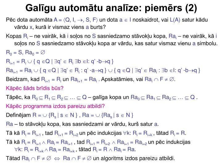 Galīgu automātu analīze: piemērs (2)