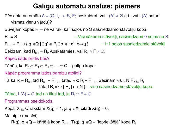 Galīgu automātu analīze: piemērs