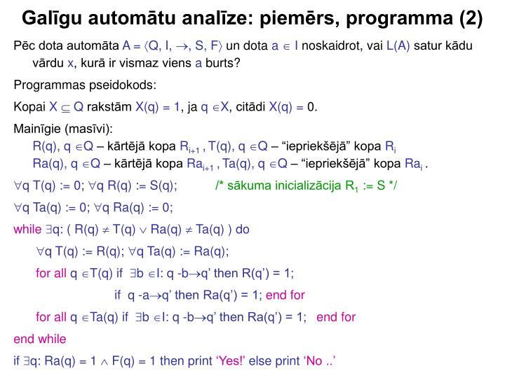 Galīgu automātu analīze: piemērs, programma (2)
