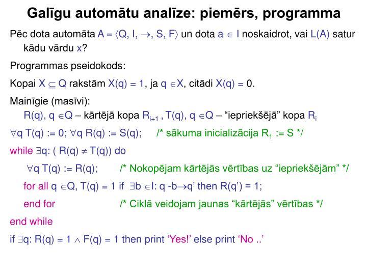Galīgu automātu analīze: piemērs, programma