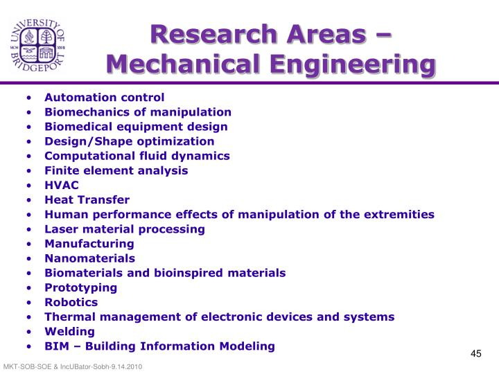 Research Areas – Mechanical Engineering