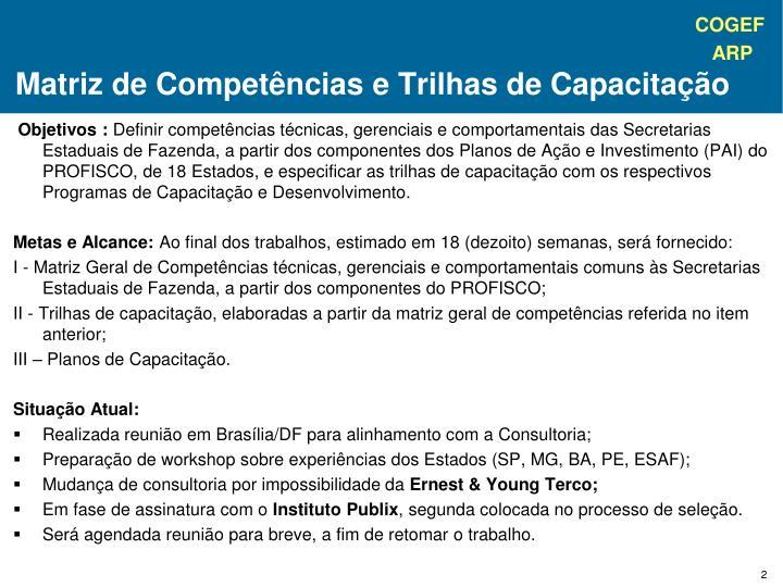 Matriz de Competências e Trilhas de Capacitação