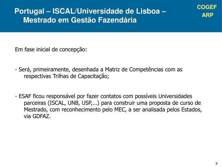 Portugal – ISCAL/Universidade de Lisboa – Mestrado em Gestão Fazendária