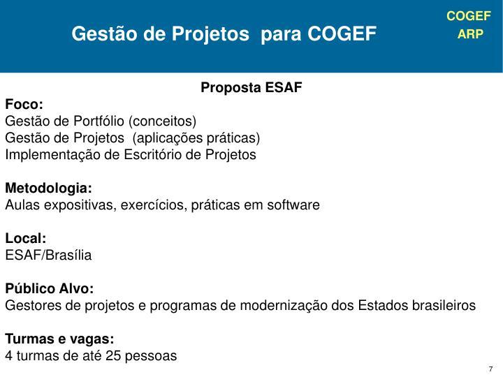 Gestão de Projetos  para COGEF
