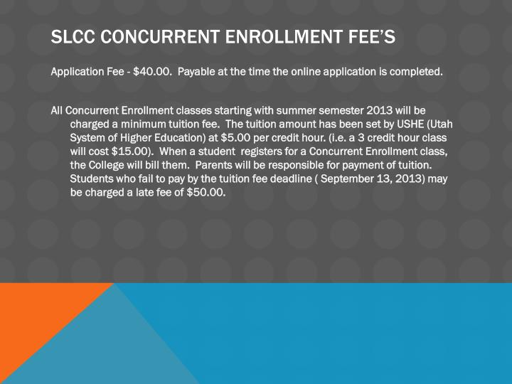 SLCC Concurrent Enrollment Fee's