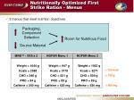 nutritionally optimized first strike ration menus