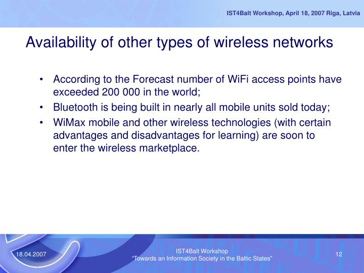 Availability of other types of wireless networks