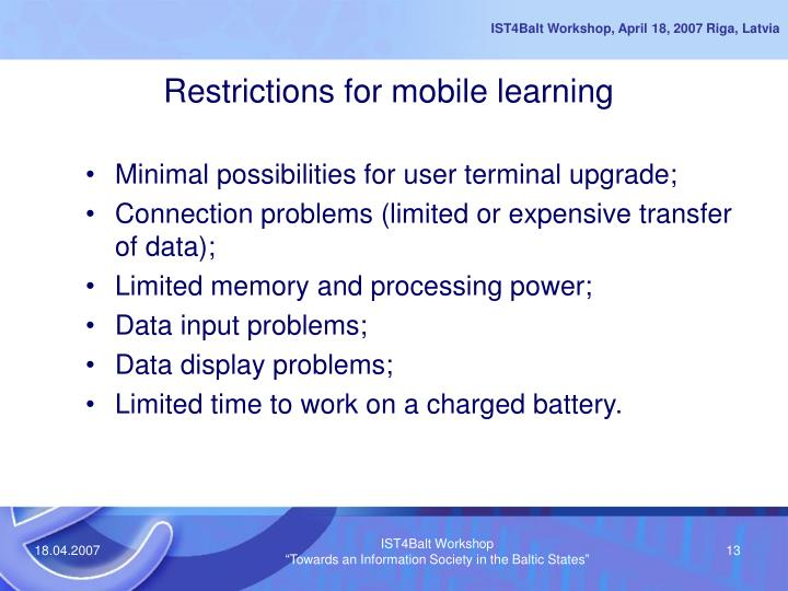 Restrictions for mobile learning