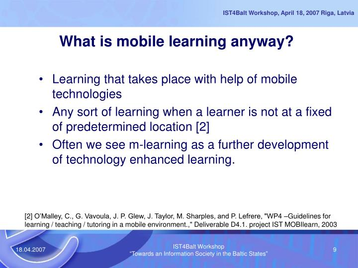 What is mobile learning anyway?