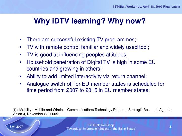 Why idtv learning why now