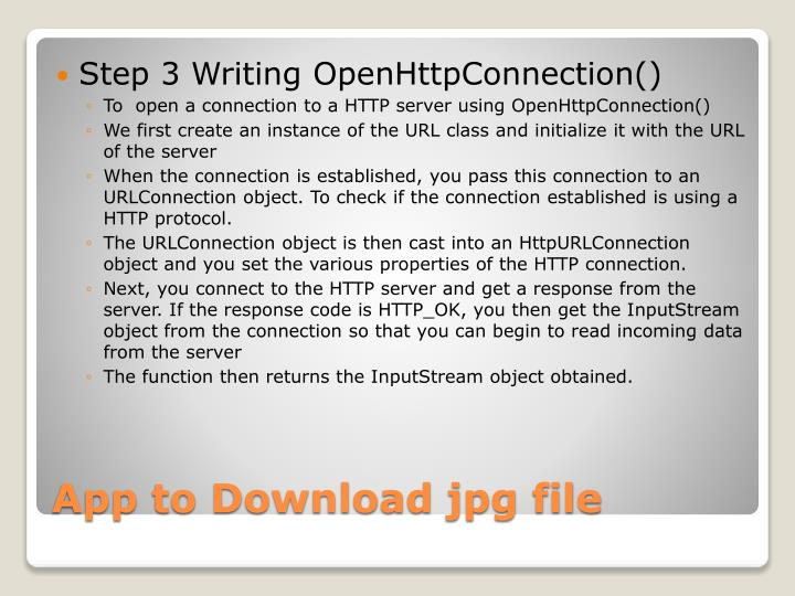 Step 3 Writing OpenHttpConnection()