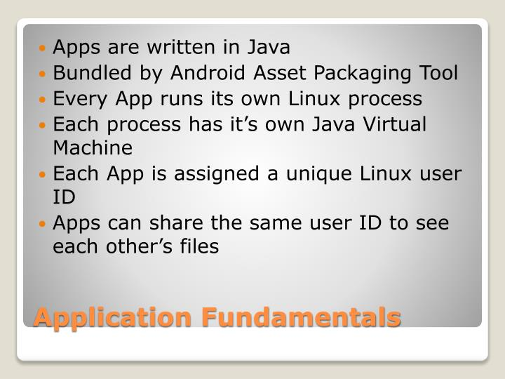 Apps are written in Java