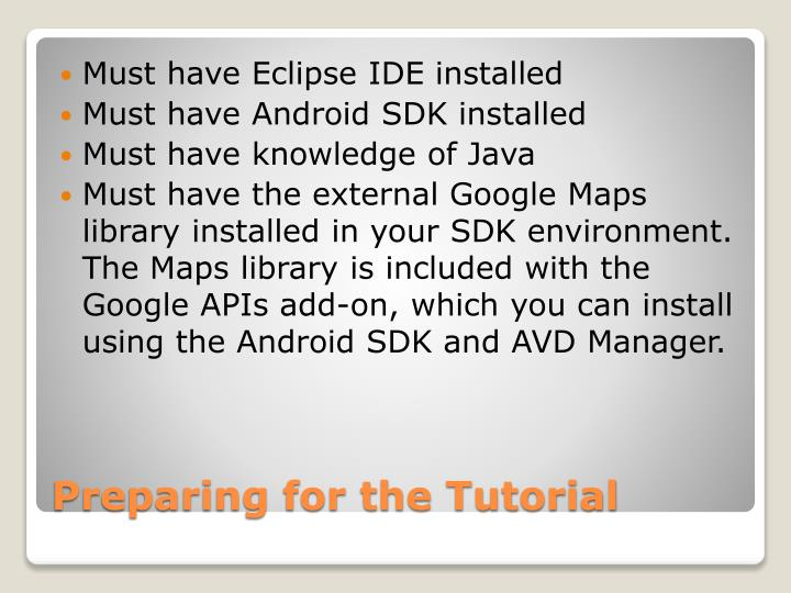 Must have Eclipse IDE installed