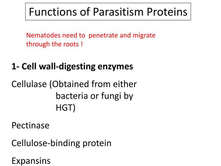 Functions of Parasitism Proteins