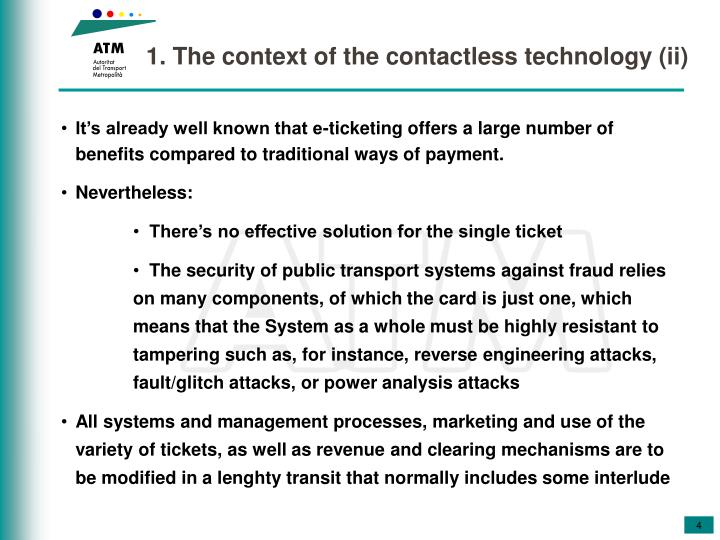 1. The context of the contactless technology (ii)