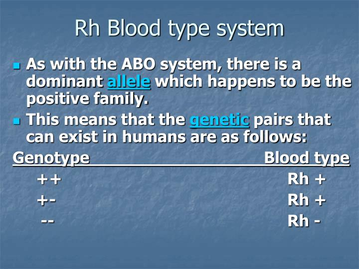 Rh Blood type system