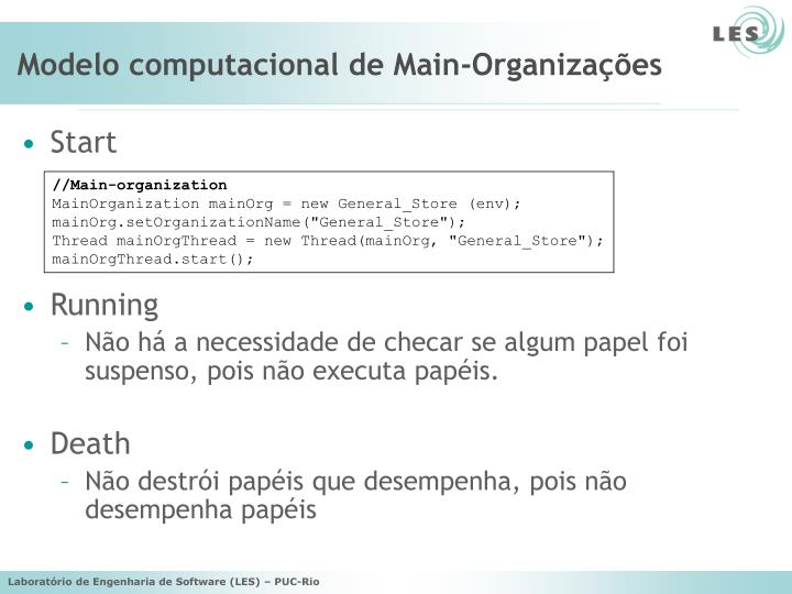 Modelo computacional de Main-Organizações