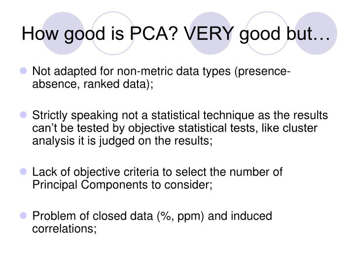 How good is PCA? VERY good but…