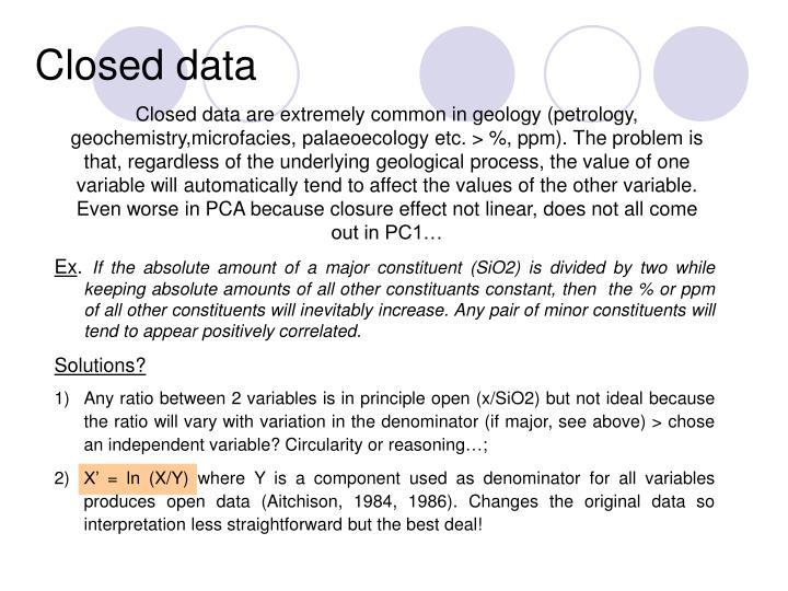 Closed data