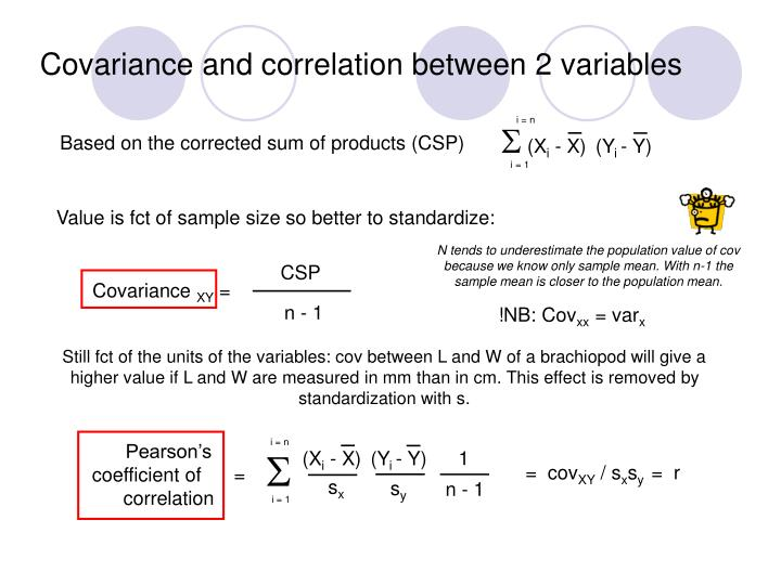 Covariance and correlation between 2 variables