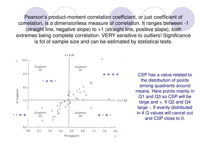 Pearson's product-moment correlation coefficient, or just coefficient of correlation, is a dimensionless measure of correlation. It ranges between -1 (straight line, negative slope) to +1 (straight line, positive slope), both extremes being complete correlation. VERY sensitive to outliers! Significance is fct of sample size and can be estimated by statistical tests.